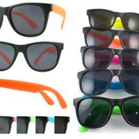 Amazon.com: 5 Pack Neon Rubber 80's Wayfarer Sunglasses with 100% UV Protection Dark Lens. 5402R-SET: Shoes