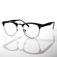 Amazon.com: 80's - 80's -'Club' - Half frame Clear Lens Wayfarer - Black: Clothing