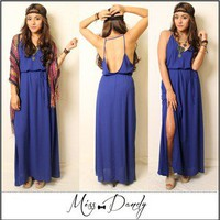 Lush Royal Blue Maxi Boho Bohemian Indie Hippie Gypsy Festival Dress Nasty Gal