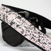 Camera Strap, Pink Lace 2, Black, White, dSLR, SLR