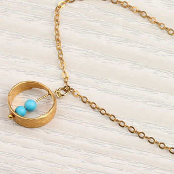"""Turquoise circle necklace, gold ring necklace, bridesmaid necklace, vermeil, everyday simple, charm jewelry,""""Rhode"""" Necklace"""