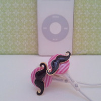 New Bright Pink striped mustache earbuds