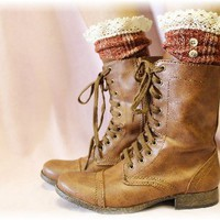 SLX1BL Miss Nicki Cinnamon Tweed Lace Slouch Socks