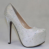 Ladies Silver Stiletto High Heel Diamante Crystal Rhinestone Platform Pump Shoe