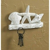 Tropical Starfish Seashells Metal Wall Key Hook Hanger