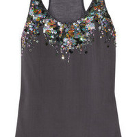 Roberto Cavalli|Sequin-embellished silk and modal tank|NET-A-PORTER.COM