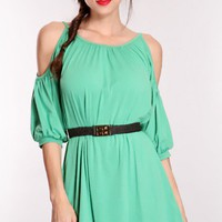 Green Bare Shoulders Tunic Top