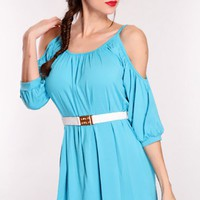 Blue Bare Shoulders Tunic Top