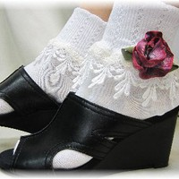 SL72 Romantic Purple double lace socks