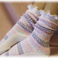 SS1 White ski sweater slipper sock