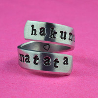 hakuna matata - Hand Stamped Twist Ring, Pure Aluminum , Adjustable,  Skinny Band Ring, Lion King Inspired, Newsprint Font Version