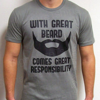 With Great Beard Mens Daddy  T-shirt tshirt Comes Great Responsibility gift Husband Anniversary dad father t shirt S-2xl