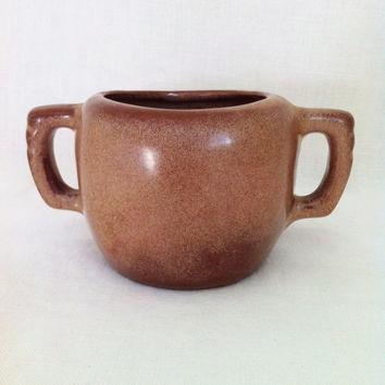 Frankoma 5B sugar bowl Brown Satin Plainsman red sapulpa