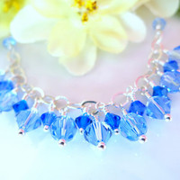 Blue Swarovski crystal sterling silver necklace