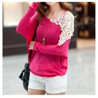 One Shoulder Lace pullover