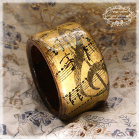 Please, Don&#x27;t Stop The Music-Vintage Look  Bangle  Bracelet  , rustic wooden bracelet/must have