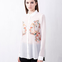 TOP WITH ORIENTAL PRINT FRONT - NEW PRODUCTS - WOMAN -  United Kingdom