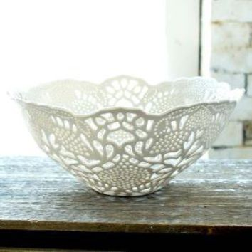 HandCarved Porcelain Lace Fruit Bowl