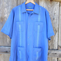 80s/90s Blue Guayabera Shirt by Tropi Cool, Men&#x27;s L-XL // Rockabilly Shirt // Vintage Short Sleeve Summer Shirt