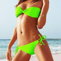 Lime Bandeau Top & Side-tie Bottom
