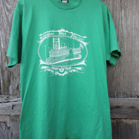 80&#x27;s Green Steamboat Festival T-Shirt, L-XL // Vintage Screen Stars Best T-Shirt