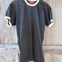 70s Rawlings Black Nylon Sports Shirt, Men&#x27;s M-L // Vintage Soccer Shirt // Jogging T-Shirt