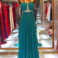 A-line Sweetheart Sweep Train Beaded Gorgeous Prom Dresses
