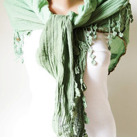 Flower Scarf - Cotton Scarf - Apple Green Scarf - Cowl Shawl