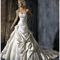 Maggie Sottero Spring 2013 - Ambrosia Alabaster Satin Wedding Gown - Unique Vintage - Prom dresses, retro dresses, retro swimsuits.
