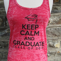 Pink Keep Calm and Graduate Class of 2013 Racer Back Tank