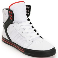 Supra Skytop White, Black & Red Gunny TUF Skate Shoe