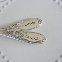 Wedding forks With date and Heart Stamp