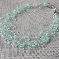 Mint Green Necklace. Spring Necklace. Wedding Necklace. Multistrand Necklace. Beadwork.