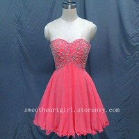 Fashion Full Crystal Beading Sweetheart Chiffon Prom Dress