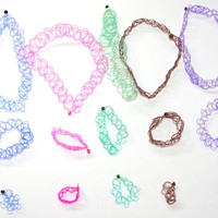 VTG Colors 90's Set Tattoo Choker Bracelet Ring- MORE COLORS