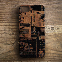 Leather iPhone 5 case - iPhone 4 case, iPhone 4s case, High quality 3D printing - old scrap paper on leather (c89)