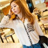 CHIC LEOPARD AND CHIFFON SHIRT