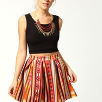 Ashleigh Navajo Print Box Pleat Scuba Skater Skirt