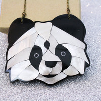 Panda Bear Necklace Mother of Pearl