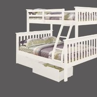 Twin over Full Mission Bunk Bed with Drawers in White