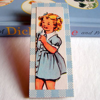Life in the Fifties Brooch - Smiling Girl in a Blue Dress - Large Paper and Chipboard Decoupage Pin Badge - Vintage Retro