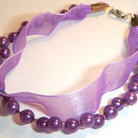 Purple Ribbon And Acrylic Pearl Bracelet