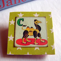 Childs Girls Brooch - Alphabet ABC - C is for Camel - Small Paper and Chipboard Decoupage Pin Badge - Vintage Retro