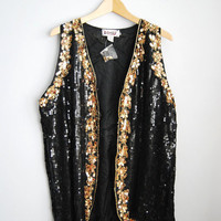 Untamed - Vintage 80s Dead Stock Black and Gold Oversized Sequin Vest
