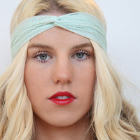 Mint Headband Workout Style Stretch Headwrap by RaydiantApparel
