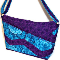 Purple Turquoise Blue Purse Crossbody Shoulder Bag Handbag Pockets