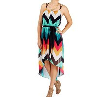 Multi Color Chevron Hi Lo Dress