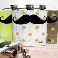 6 oz Stainless Steel Flask Mustache on Distressed by whimsyandink