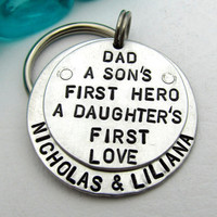 Dad Keychain - Personalized Keychain - Hand Stamped Key Chain - Layered and Riveted - Men's Key Chain - Gift for Dad Hero First Love