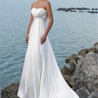 Strapless Beaded Waistline Empire Waist Satin A-line Wedding Dress WD0041